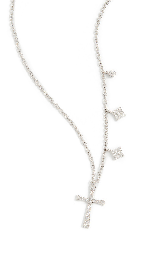 Meira T Cross Necklace in gold / white