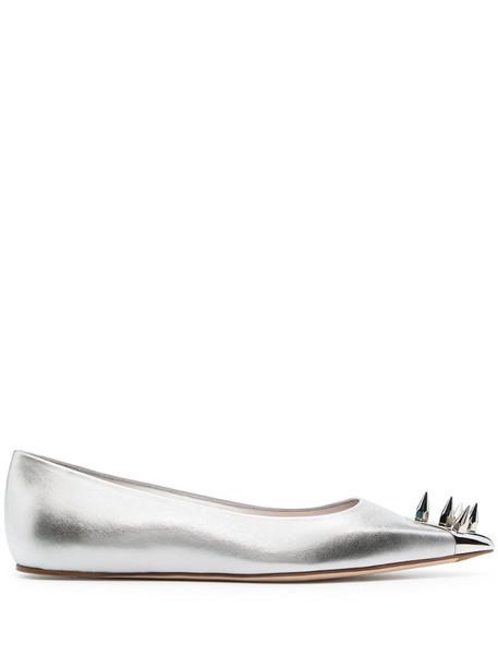 Alexander McQueen spike-detail ballerina shoes in silver