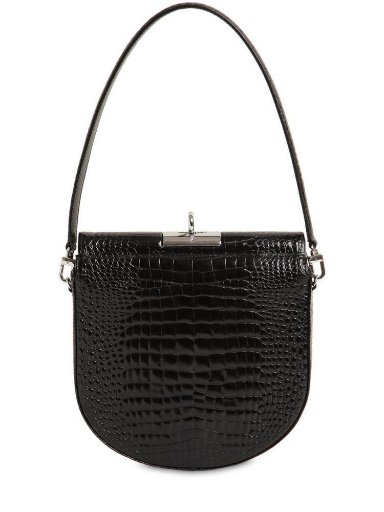 GU DE Demilune Croc Embossed Leather Bag in black