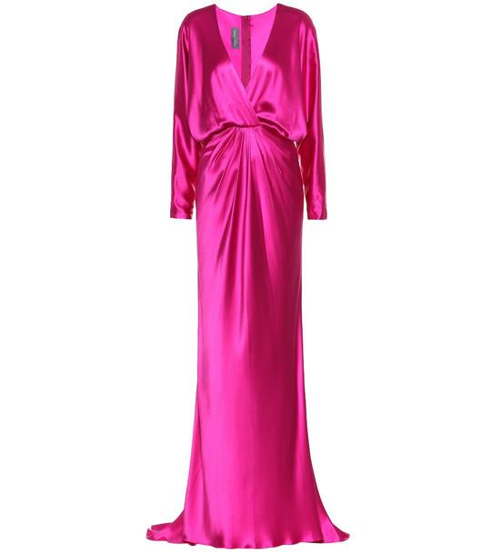Monique Lhuillier Silk-satin gown in pink