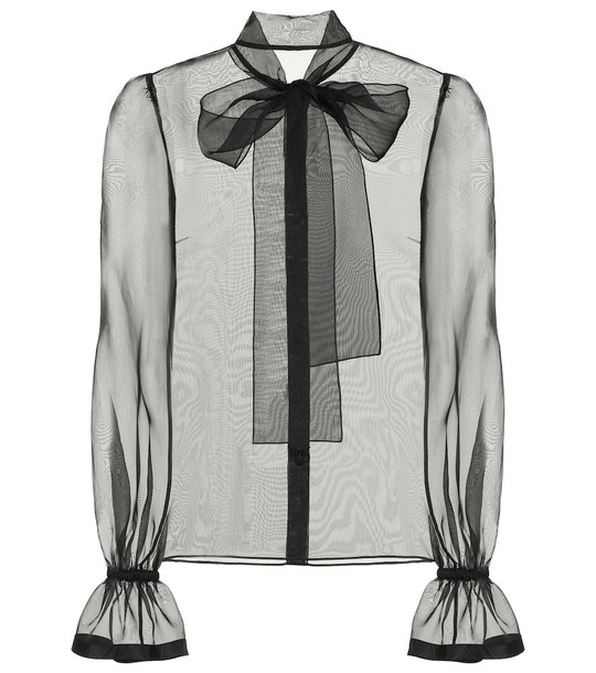 Dolce & Gabbana Sheer silk-organza blouse in black