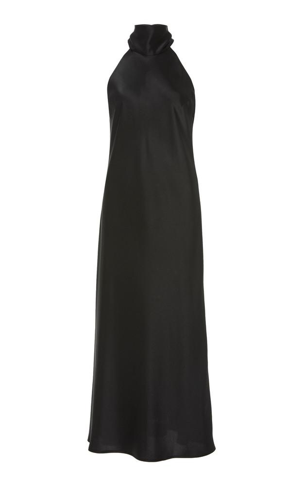 Galvan High-Necked Satin Midi Halter Dress in black