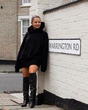 sweater,black hoodie,black boots,knee high boots,black skirt