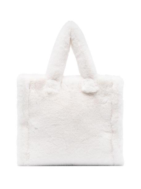 STAND STUDIO Lola faux fur tote bag in white