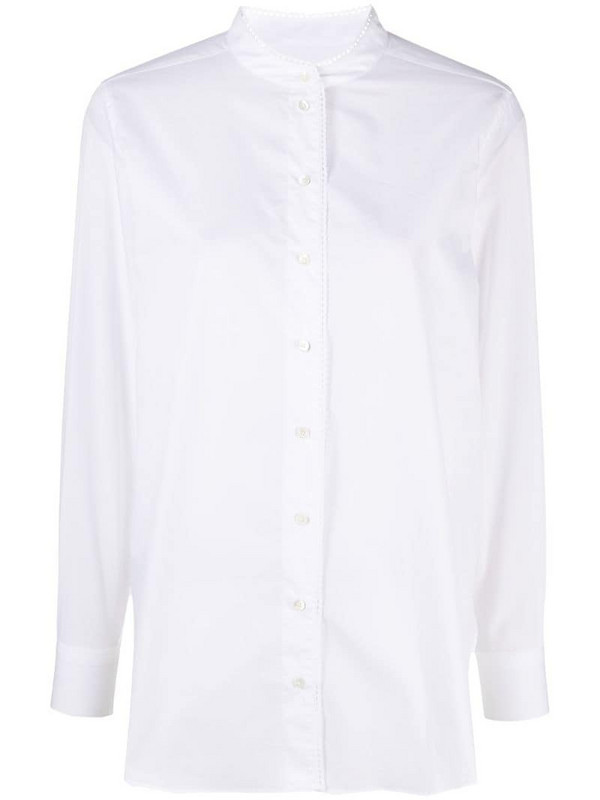 Closed collarless button-up shirt in white