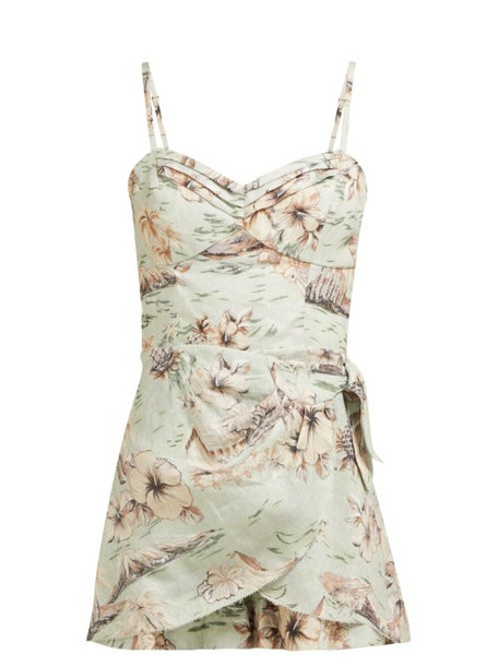 Zimmermann - Wayfarer Hawaiian Print Linen Playsuit - Womens - Light Green