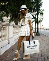 dress,white dress,ruffle dress,mini dress,platform shoes,white bag,hat