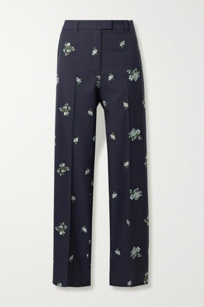 Paul & Joe - Cotton-blend Floral-jacquard Straight-leg Pants - Midnight blue