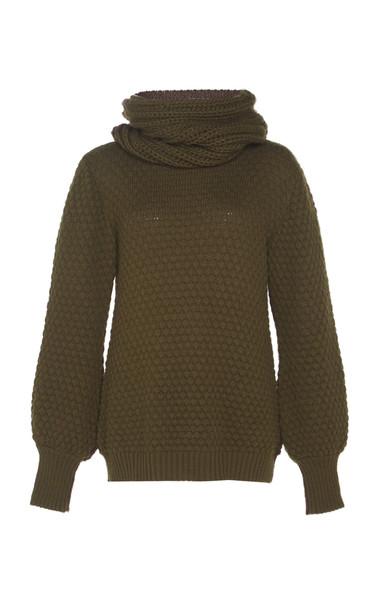 Johanna Ortiz Embera Coco De Mer Wool-Blend Cowl Neck Sweater in brown