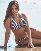 swimwear,black and white,bikini top,bikini bottoms,bikini,stripes,striped bikini,ashley graham,model,plus size,curvy,plus size swimwear
