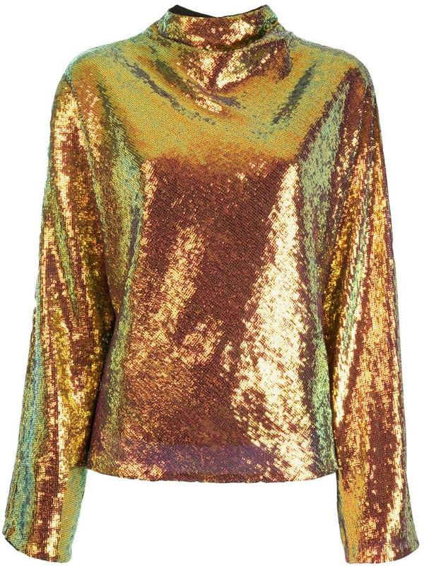 LAPOINTE cowl-neck sequin top in metallic