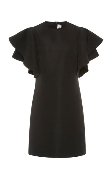 Victoria Victoria Beckham Ruffled Faille Mini Dress in black