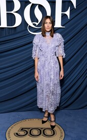 dress,lilac,lace dress,lace,alexa chung,celebrity,fashion week