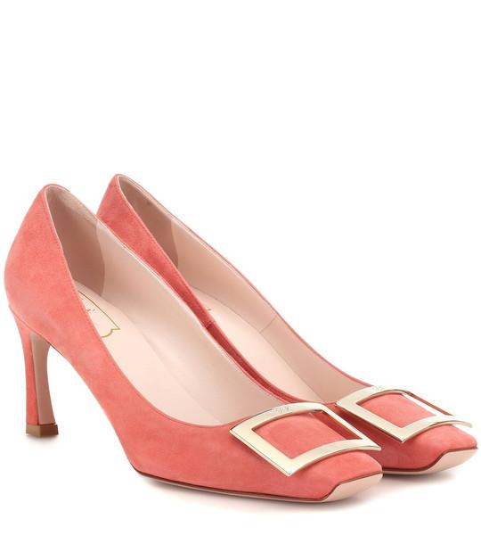 Roger Vivier Belle Vivier Trompette suede pumps in pink