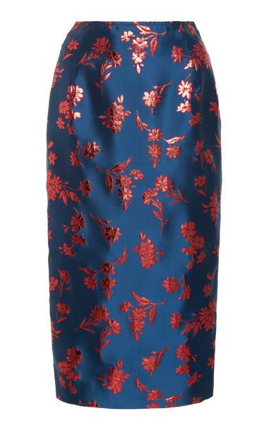 Carolina Herrera Satin-Jacquard Midi Skirt in blue