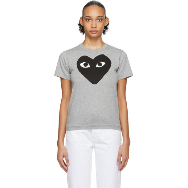Comme des Garcons Play Grey and Black Big Heart T-Shirt