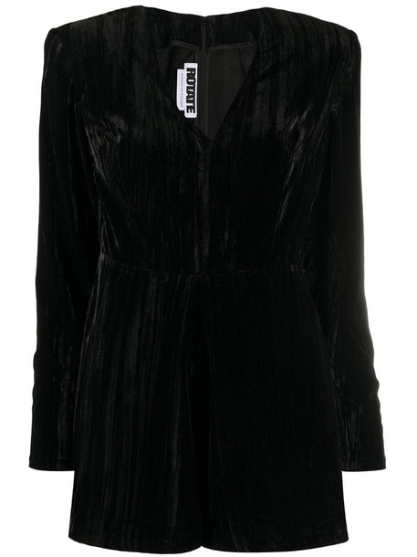 ROTATE V-neck velvet playsuit in black