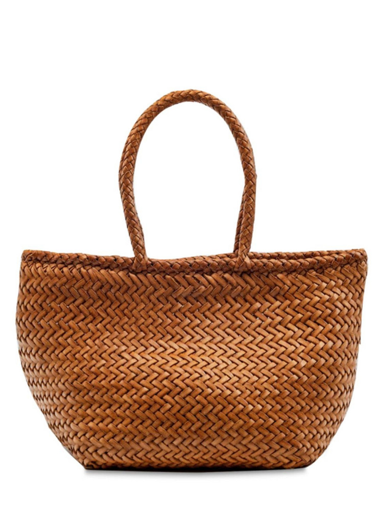 DRAGON DIFFUSION Grace Small Woven Leather Basket Bag in tan