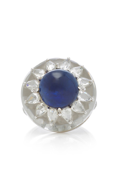 Saboo 18K White Gold Sapphire and Diamond Ring in blue
