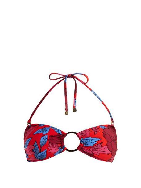 Diane Von Furstenberg - O Ring Halterneck Bikini Top - Womens - Red Print
