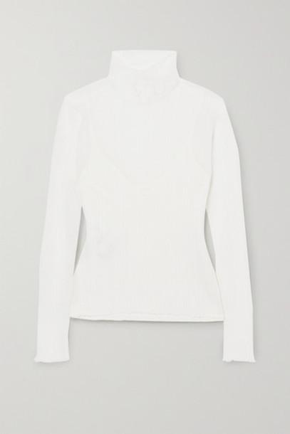 Hervé Léger - Tulle Turtleneck Top - White