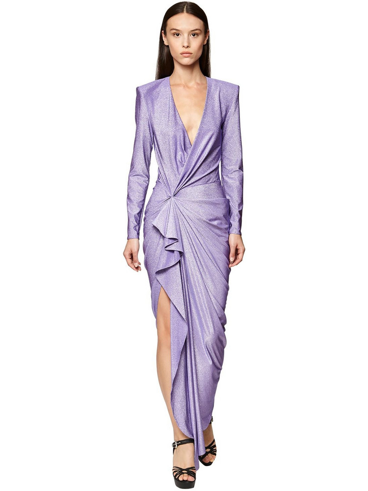REDEMPTION Lurex Stretch Jersey Long Dress in lilac