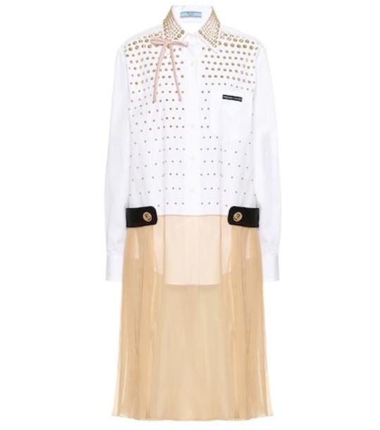 Prada Embellished silk-blend dress in white