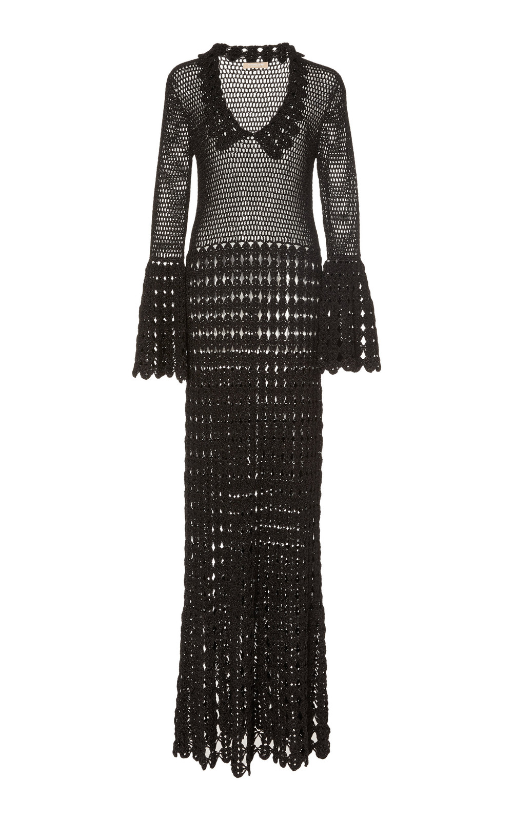 Michael Kors Collection Crocheted Cotton Maxi Dress in black