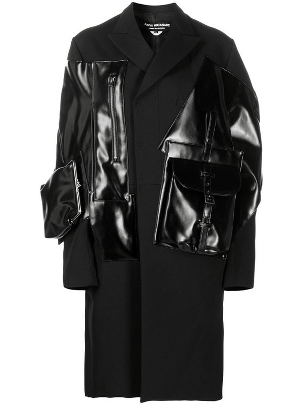 Junya Watanabe panelled pouch midi coat in black