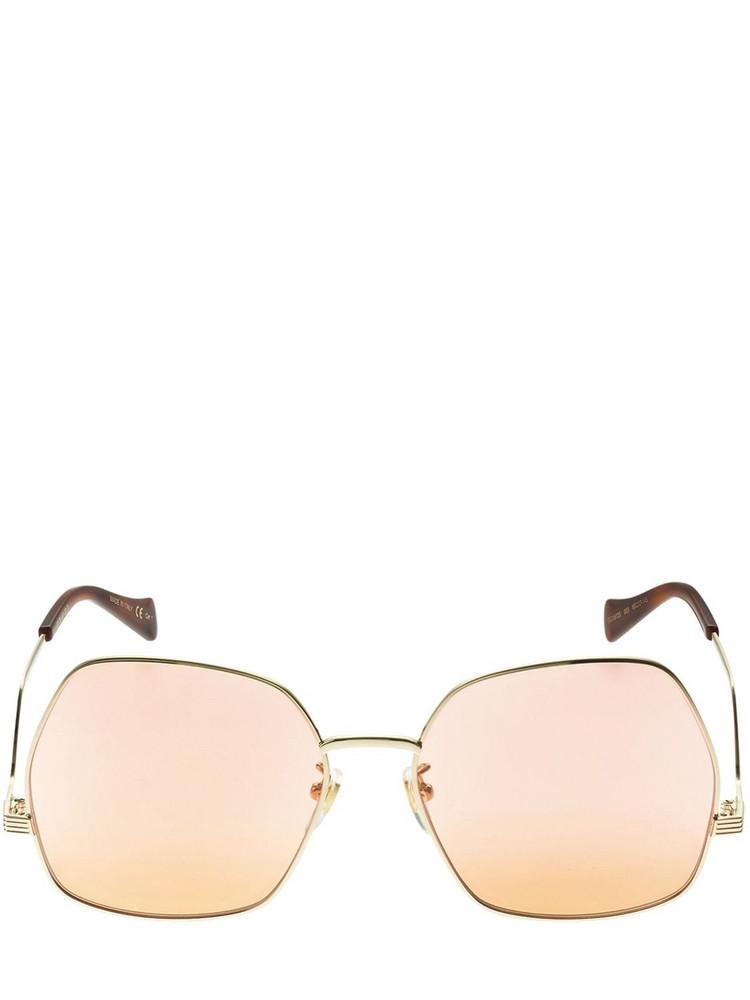 GUCCI Geometric Metal Sunglasses in gold
