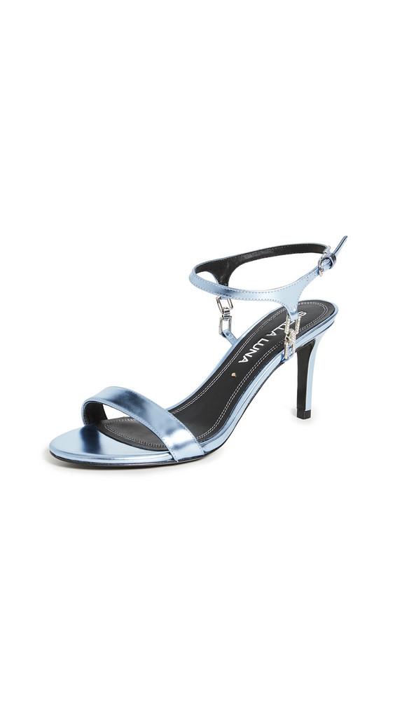 Stella Luna Crystal Chain Sandals in blue