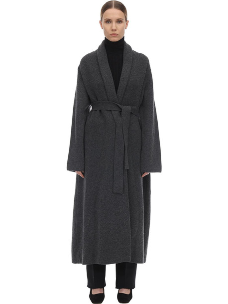 THE ROW Long Cashmere Felted Robe Coat in grey