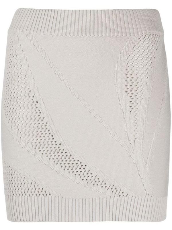 Just Cavalli open-knit mini skirt in neutrals