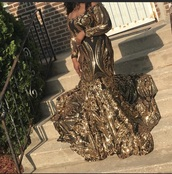 dress,bland and gold sequins long dress