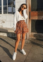 shirt,whole outfit,floral skirt,white cardigan,everything