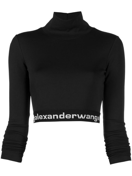 T By Alexander Wang logo-band crop top in black