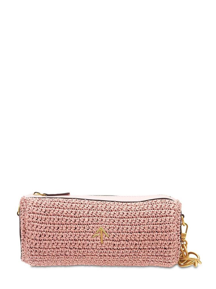 MANU ATELIER Mini Cylinder Crochet & Leather Bag