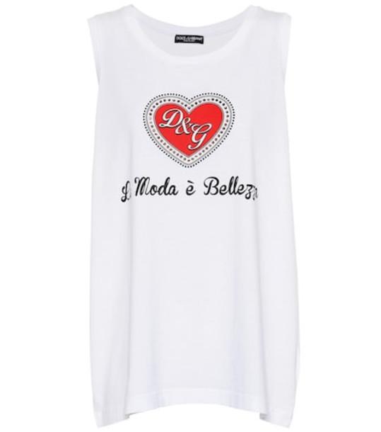Dolce & Gabbana Printed cotton tank top in white