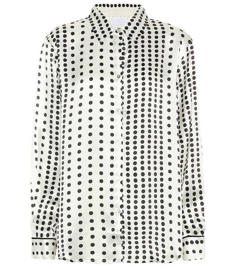 Asceno Polka-dot silk pajama shirt in white