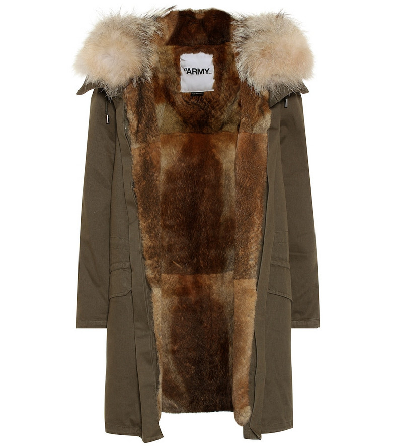 Yves Salomon - Army Fur-trimmed cotton parka in green