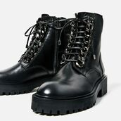 shoes,black biker boots with chain