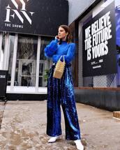 pants,wide-leg pants,high waisted pants,sequins,blue pants,white boots,handbag,turtleneck sweater,blue sweater