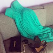 pleated dress,teal dress,green dress,braided,sea green dress,prom dress,maxi dress,dress,prom,mint,strapless dress,strapless,sweetheart,shoes,blue dress,black high heels,black purse,green,emerald green,turquoise dress,summer dress,bag,high heels,turquoise,homecoming,long dress,sequins,one shoulder dress,aqua,baby blue,turquoise maxi dress,blouse,aqua dress