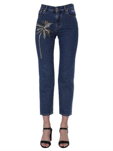 MSGM Jeans With Embroidery Palm Tree