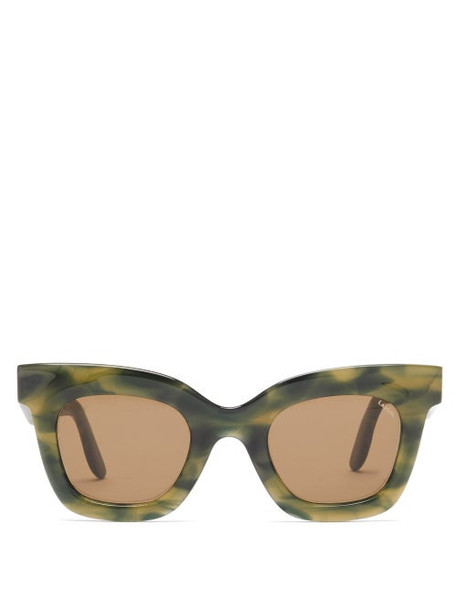 Lapima - Lisa Square Marbled-acetate Sunglasses - Womens - Green