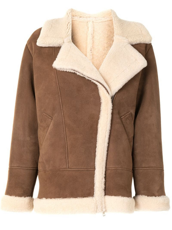 Blancha oversized aviator-style jacket in brown