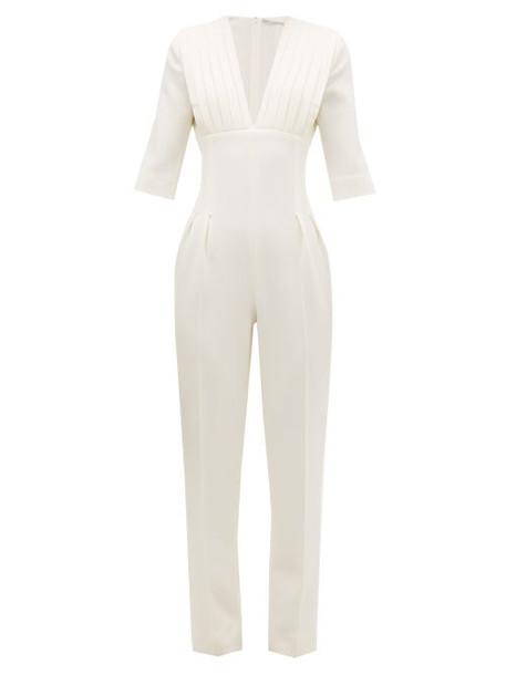 Emilia Wickstead - Bella Pleated Wool Crepe Jumpsuit - Womens - Ivory