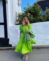 dress,midi dress,green dress,flat sandals,cardigan