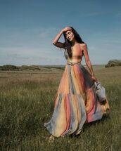 dress,maxi dress,dior,sleeveless dress,rainbow,white sandals