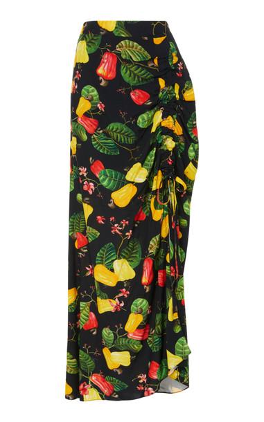 Isolda Aysha Crepe Cashew Skirt Size: XL in black
